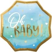 Folienballon Blue Baby Boy, ohne Helium zu Geburt und Taufe