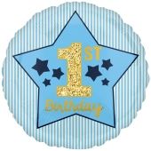 Luftballon aus Folie Boy 1st Birthday, Blau & Gold, inklusive Helium