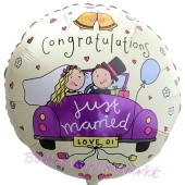 Congratulations, Just Married, Rundballon, Luftballon aus Folie zur Hochzeit