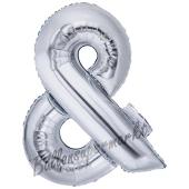 Großer Buchstabe &, Und Luftballon aus Folie in Silber