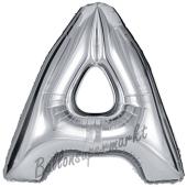 Großer Buchstabe A Luftballon aus Folie in Silber