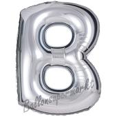 Großer Buchstabe B Luftballon aus Folie in Silber