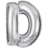 Großer Buchstabe D Luftballon aus Folie in Silber