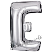 Großer Buchstabe E Luftballon aus Folie in Silber