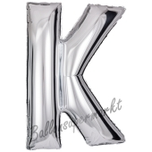 Großer Buchstabe K Luftballon aus Folie in Silber