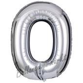 Großer Buchstabe O Luftballon aus Folie in Silber