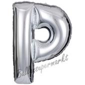 Großer Buchstabe P Luftballon aus Folie in Silber