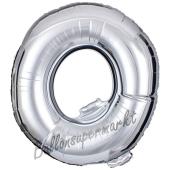 Großer Buchstabe Q Luftballon aus Folie in Silber