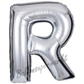 Großer Buchstabe R Luftballon aus Folie in Silber