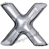 Großer Buchstabe X Luftballon aus Folie in Silber