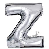 Großer Buchstabe Z Luftballon aus Folie in Silber
