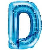 Luftballon Buchstabe D, blau, 35 cm