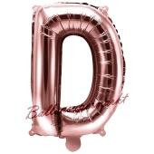 Luftballon Buchstabe D, roségold, 35 cm
