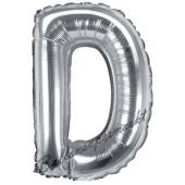 Luftballon Buchstabe D, silber, 35 cm