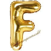 Luftballon Buchstabe F, gold, 35 cm