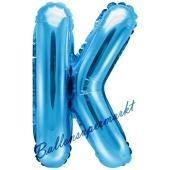 Luftballon Buchstabe K, blau, 35 cm