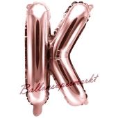 Luftballon Buchstabe K, roségold, 35 cm