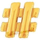 Großer Buchstabe #, Hashtag/Raute Luftballon aus Folie in Gold