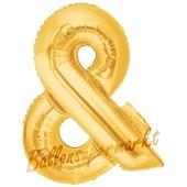 Großer Buchstabe &, Und Luftballon aus Folie in Gold