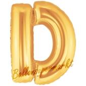 Großer Buchstabe D Luftballon aus Folie in Gold