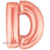 Großer Buchstabe D Luftballon aus Folie in Roségold