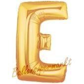 Großer Buchstabe E Luftballon aus Folie in Gold