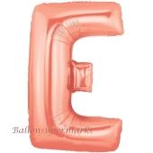 Großer Buchstabe E Luftballon aus Folie in Roségold