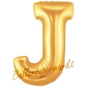 Großer Buchstabe J Luftballon aus Folie in Gold