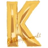 Großer Buchstabe K Luftballon aus Folie in Gold