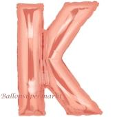 Großer Buchstabe K Luftballon aus Folie in Roségold