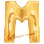Großer Buchstabe M Luftballon aus Folie in Gold