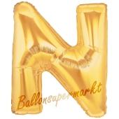 Großer Buchstabe N Luftballon aus Folie in Gold