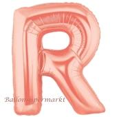 Großer Buchstabe R Luftballon aus Folie in Roségold