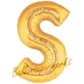 Großer Buchstabe S Luftballon aus Folie in Gold