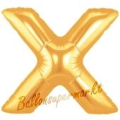 Großer Buchstabe X Luftballon aus Folie in Gold