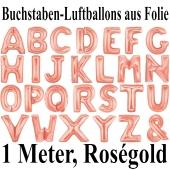 Große Buchstaben-Luftballons aus Folie in Roségold