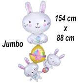 Luftballon fröhliche Osterhasen, ohne Helium-Ballongas