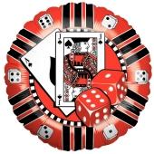 Luftballon aus Folie mit Ballongas, Pokerchip, Jeton