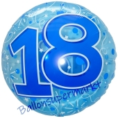 Folienballon Lucid Blue Birthday 18, ohne Helium zum 18. Geburtstag