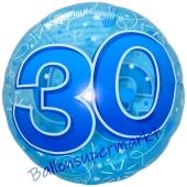 Lucid Blue Birthday 30, transparenter Folienballon zum 30. Geburtstag inklusive Helium