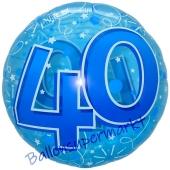 Folienballon Lucid Blue Birthday 40, ohne Helium zum 40. Geburtstag