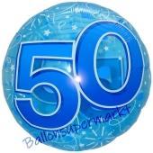 Folienballon Lucid Blue Birthday 50, ohne Helium zum 50. Geburtstag