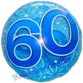Lucid Blue Birthday 60, transparenter Folienballon zum 60. Geburtstag inklusive Helium