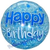 Lucid Blue Happy Birthday, transparenter Folienballon zum Geburtstag inklusive Helium