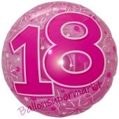 Folienballon Clear Pink Birthday 18, ohne Helium zum 18. Geburtstag