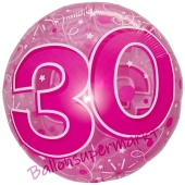 Clear Pink Birthday 30, Transparenter Folienballon zum 30. Geburtstag inklusive Helium