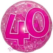 Clear Pink Birthday 40, Transparenter Folienballon zum 40. Geburtstag inklusive Helium