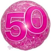 Clear Pink Birthday 50, Transparenter Folienballon zum 50. Geburtstag inklusive Helium