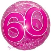 Clear Pink Birthday 60, Transparenter Folienballon zum 60. Geburtstag inklusive Helium
