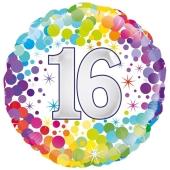 Colorful Confetti 16, runder Luftballon mit Helium Ballongas zum 16. Geburtstag